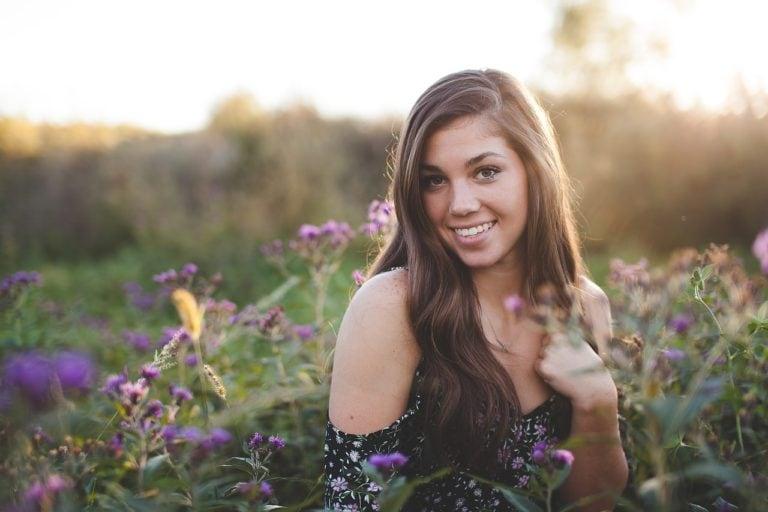 Girl Flowers Smile