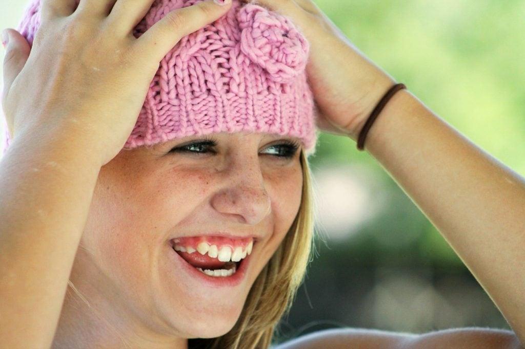 girl, hat, happy